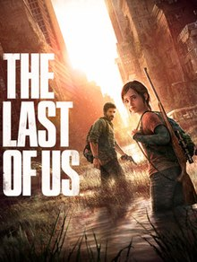 "Artwork of Ellie, a teenage girl with brown hair. She has a backpack, with a sniper rifle strapped to her side, and is standing behind Joel, a man in his 40s who has brown hair and beard, and a revolver in his left hand. They are standing in a flooded, overgrown city street, turning to face the camera. The text ""THE LAST OF US"" is positioned to the left."