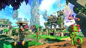 Yooka-Laylee - Yooka-Laylee features gameplay similar to spiritual predecessor, Banjo-Kazooie, where the player searches for and collects items in an open 3D environment.