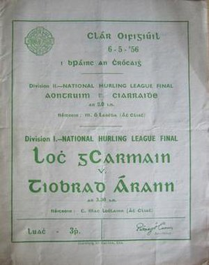 1955–56 National Hurling League - Image: 1955–56 National Hurling League final prog