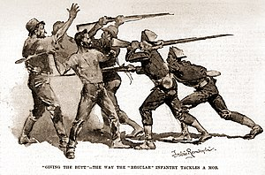 Pullman Strike - Violence erupted on July 7, 1894, with hundreds of boxcars and coal cars looted and burned. State and federal troops used force to quell the mob, as this study by Frederic Remington illustrates.