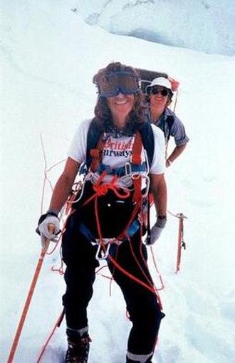Alison Chadwick-Onyszkiewicz - Alison Chadwick-Onyszkiewicz on Annapurna between camps II and III. Photographed by Arlene Blum.