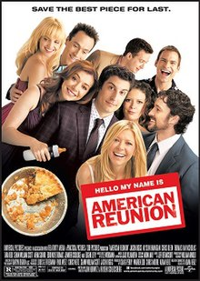 Group picture of the cast. Alyson Hannigan has a baby bottle in hand instead of a flute. The pie has only a small slice left, indicating this is the final film in the series.