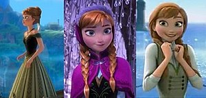 Anna (Disney) - From left to right: Anna's coronation dress, her winter travel outfit and her summer casual wear.