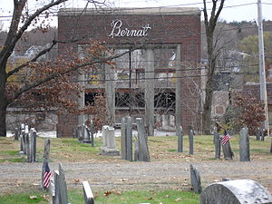 Bernat Mill - Bernat Mill, post 2007 fire, November 11, 2009, at Uxbridge, Massachusetts