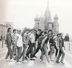 Bajaga i Instruktori - Members of Bajaga i Instruktori with members of Bijelo Dugme in 1985 in Moscow.