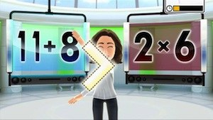 Body and Brain Connection - A player uses the motion controls to select which math problem is greater than the other.