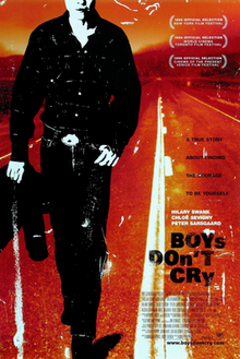 The theatrical release poster for Boys Don't Cry, showing a stylized depiction of the main character, Brandon Teena, walking along a road with the film's tagline in the background.