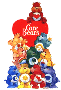 The ten original Care Bears in the logo for the 1980s franchise, with Tenderheart Bear at top.