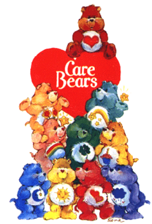 Care Bears - The ten original Care Bears in the logo for the 1980s franchise, with Tenderheart Bear at top