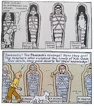 Cigars of the Pharaoh - Comparisons of the same scene from the 1934 and 1955 versions of the comic.