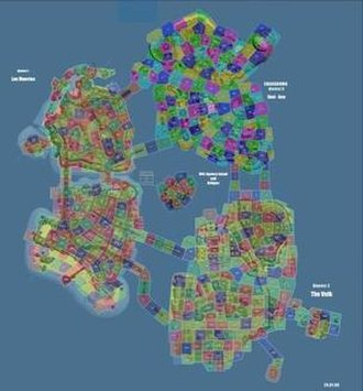 Crackdown - A map of Pacific City from Crackdown, demonstrating the sectors used for debugging the game