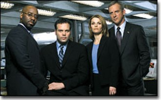 Law & Order: Criminal Intent (season 1) - Season 1 cast members: (left to right) Courtney B. Vance, Vincent D'Onofrio, Kathryn Erbe, and Jamey Sheridan
