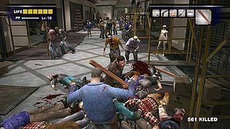 Dead Rising (video game) - West attacking zombies with a 2x4 plank. There are approx. 30 enemies onscreen