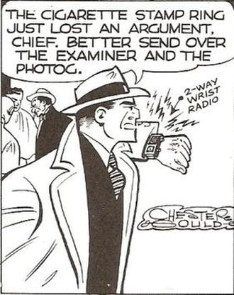Dick Tracy (character) - Dick Tracy and the famous 2-Way Wrist Radio.