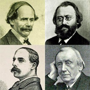 Royal Liverpool Philharmonic - Liverpool Philharmonic conductors, 1867–1913: clockwise from top left: Benedict, Bruch, Hallé and Cowen