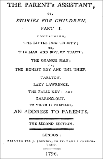 The Parent's Assistant - Title page from the second edition