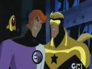 "Elongated Man - Elongated Man (left) alongside Booster Gold (right) and Skeets (background) in Justice League Unlimited in the episode ""The Greatest Story Never Told"" as he reminds Booster about the squeaky wheel."