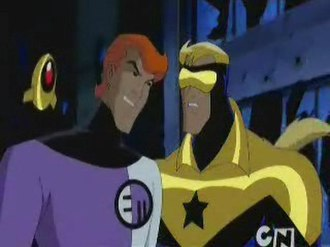 """Elongated Man - Elongated Man (left) alongside Booster Gold (right) and Skeets (background) in Justice League Unlimited in the episode """"The Greatest Story Never Told"""" as he reminds Booster about the squeaky wheel."""