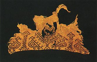 Maronite mummies - Embroidered cloth depicting peacocks facing the tree of life.