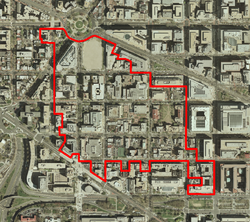The George Washington University's Foggy Bottom Campus is generally bound by 24th Street on the West, 19th Street on the East, Pennsylvania Avenue on the North, and F Street on the South.