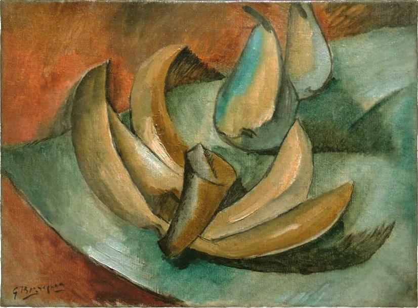 Georges Braque, 1908, Cinq bananes et deux poires (Five Bananas and Two Pears), oil on canvas, 24 x 33 cm, Musée National d'Art Moderne