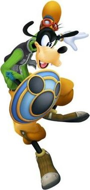 Goofy, as he appears in the Kingdom Hearts series. His attire was designed by Tetsuya Nomura.