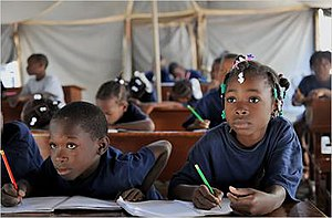 Structural violence in Haiti - Haitian school children attending class