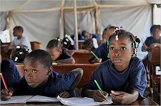 Structural violence in Haiti - Haitian school children attending class