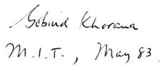 Har Gobind Khorana - Image: Har Gobind Khorana signature