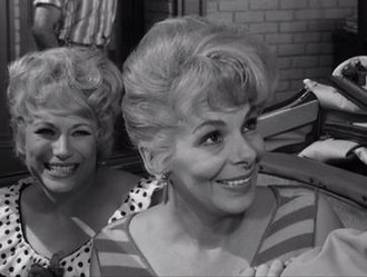 "Jean Carson - Carson as Daphne, one of ""The Fun Girls"" on The Andy Griffith Show in her most well-known acting role (from right to left) Jean Carson and Skippy played by Joyce Jameson"