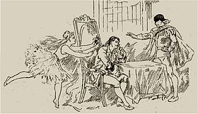 Drawing of a production of a 19th century opera, with ballerina and two men
