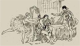 Dibujo de una producción de una ópera del siglo XIX, con bailarina y dos hombres