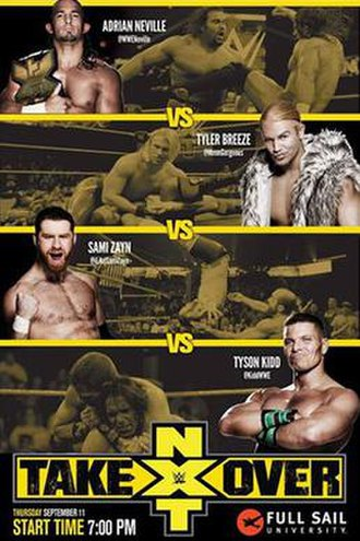 NXT TakeOver: Fatal 4-Way - Promotional poster featuring Adrian Neville, Tyler Breeze, Sami Zayn, and Tyson Kidd.