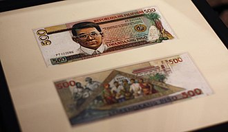 Philippine five hundred peso note - The original artwork of Angel C. Cacnio's proposed Ninoy Aquino design of the ₱500 note.