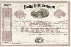 Stock certificate for the Pacific Pearl Company Pacific Pearl Co. Bond.jpg