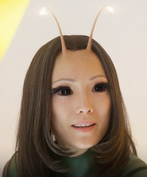 Mantis (Marvel Comics) - Pom Klementieff (left) as Mantis with Chris Pratt as Star-Lord in the 2017 film Guardians of the Galaxy Vol. 2