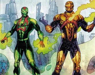"""Reactron - Reactron, redesigned with a Gold Kryptonite heart, wreaks havoc alongside Metallo during the """"New Krypton"""" storyline."""