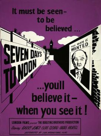 Seven Days to Noon - Theatrical release poster