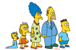 The Simpson family as they appeared in The Tracey Ullman Show