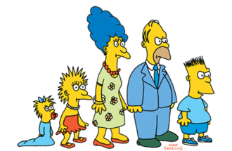 The Simpsons shorts - The Simpson family as they originally appeared in shorts from The Tracey Ullman Show as their television debut in 1987.