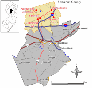 Somerset Hills - Map of The Somerset Hills region in Somerset County