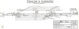 Stanlow and Thornton railway station - Image: Stanlowthornton 1975