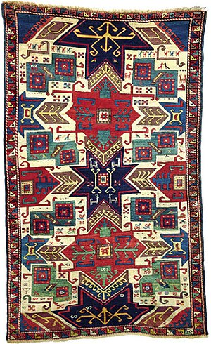 Culture of Kazakhstan - This 19th-century Star Kazak carpet sold for US$188,000 in 1999