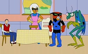 The Brak Show - From the left: Dad, Mom, Brak, and Zorak.