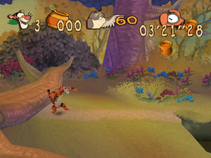 Tigger's Honey Hunt - Tigger racing the clock to finish the level in the shortest time.