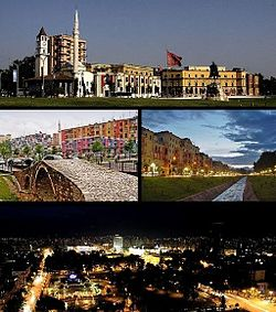 From top to bottom, left to right: Skanderbeg SquareTanners' Bridge • Lanë River •  Rinia Park by night
