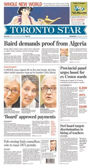 Toronto Star - Image: Toronto Star frontpage