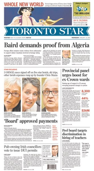 Toronto Star - The January 23, 2013, front page of the Toronto Star