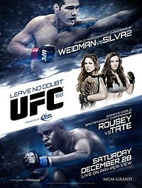A poster or logo for UFC 168: Weidman vs. Silva 2.
