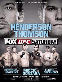 A poster or logo for UFC on Fox: Henderson vs. Thomson.